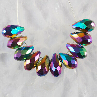 K531 13x8 8Pcs AB Color Faceted Crystal Teardrop Pendant Beads