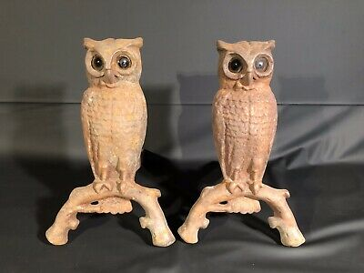 Antique Pair Owl Cast Iron Andirons Amber Yellow Glass Eyes