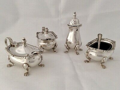 Stunning Art Nouveau Silver Plated 10 Pc Condiment Set GARRARD & Co London C1920
