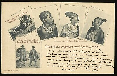 South Africa 1899 Illustrated Postal Stationery Card Zulu Natives Fine Used.a590