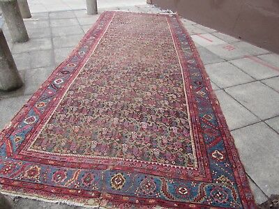 Antique Traditional Hand Made Persian Oriental Wool Blue Long Carpet 505x202cm