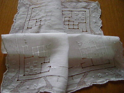 Stunning Vintage Handkerchief, Hankie Drawn Threadwork, Delicate Embroidery