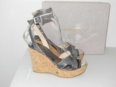 Jimmy Choo Papyrus Snake-Embossed Wedge Sandals Size 37.5