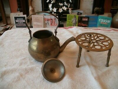 Miniature Brass Kettle On Three Legged Stand