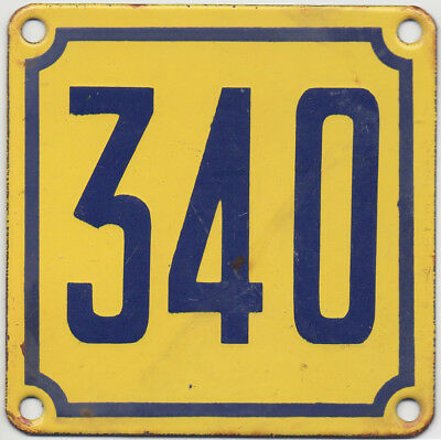 Old French house number 340 door gate wall plate plaque enamel steel metal sign