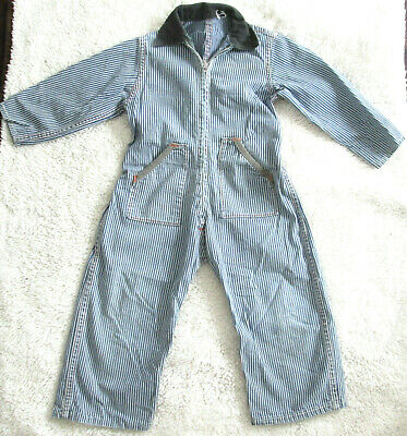 Vintage Boys Children Child DENIUM PINSTRIPED Herringbone PLAYSUIT Coveralls