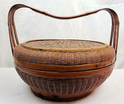 WOW A Bamboo Handle with a Purpose on this Large Chinese Woven Wicker Basket