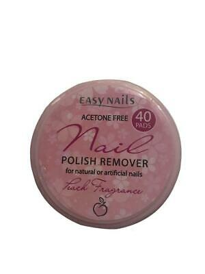 EASYNAILS 40 Nail Varnish Remover Pads. PEACH FRAGRANCE.Helps Protect Your Nail