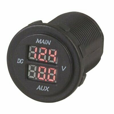 Durable Dual Battery LED Voltmeter Ideal for 12V and 24V Systems w/ Brackets