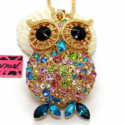 Hot Cute Colorful Crystal Big Eye Owl Betsey Johnson Pendant Sweater Necklace