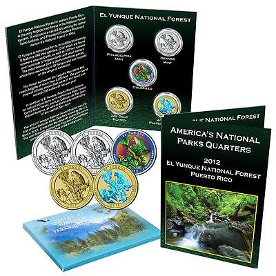 2012 El Yunque National Park Quarter Collection Color Gold Plated Hologram BU