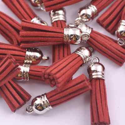 10x Dark Red Silver-Tone-Metal-Top-Tassels-Terylene-Velvet-Pendant-for-jewer