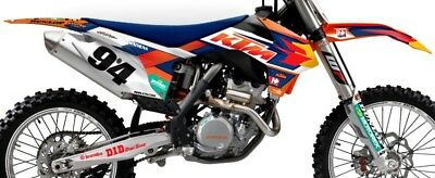 KTM RACING TEAM GRAPHICS KIT SX SXF (07 - 10) XC EXC ( 08 - 11 )  w/ WHITE B/Gs
