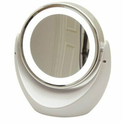 Dual Sided Magnifying Mirror 1x and 5x Magnification with LED Lighted Rim