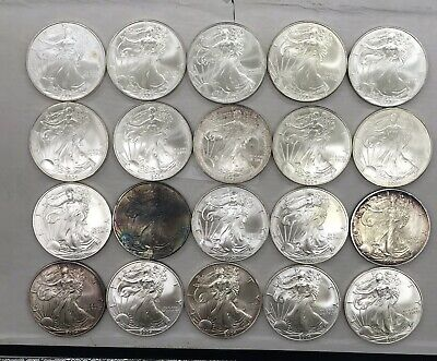 2004 American Silver Eagle Roll , 20 Coin In Tube