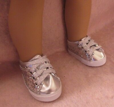 Silver Glitter Tennis Shoes fit American Girl Doll 18 Inch Clothes Seller lsful