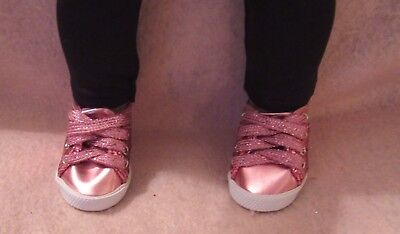 Pink Glitter Tennis Shoes fit American Girl Doll 18 Inch Clothes Seller lsful