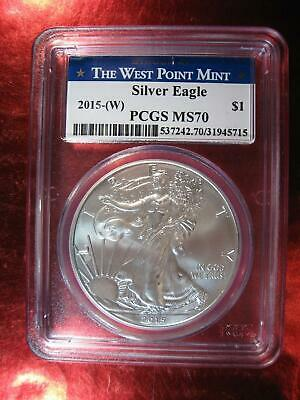 2015 (W) PCGS MS 70 American Silver Eagle West Point Mint - NO MINT MARK