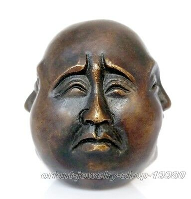 about antique excellent old bronze carved statue 4 face Mood Buddha 8cm faces