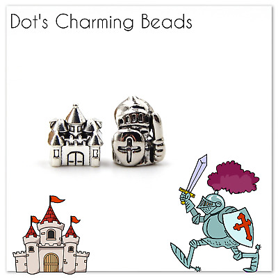Silver Medieval Crusader Knight in Shining Armor & Castle European Bead Charms
