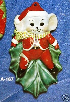 Ceramic Bisque Christmas Ornament Mouse on Holly Leaf Alberta Mold 167 U-Paint