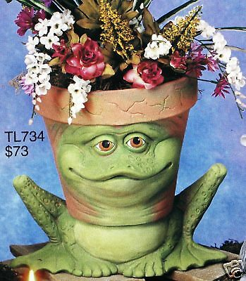 Ceramic Bisque Frog Planter Glazed TL Design Mold 734 U-Paint Ready To Paint