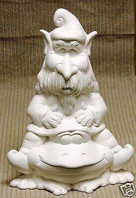 Ceramic Bisque Gnome Theo and Frog TL Design Mold 1186 U Paint Ready To Paint