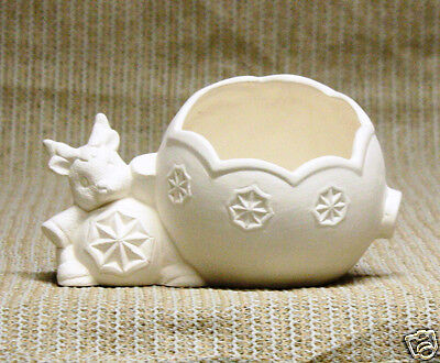 Ceramic Bisque Ornamental Reindeer Candle Cup Clay Magic J1102 Ready To Paint