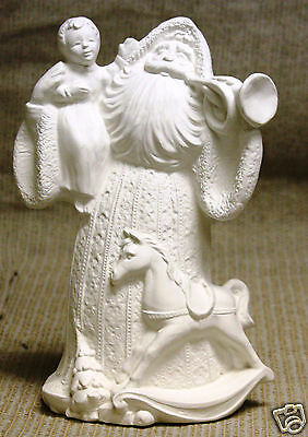 Ceramic Bisque Antique Santa with Trumpet Gare Mold 2384 U-Paint Ready To Paint