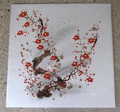 Oriental big original oil painting cherry blossoms satsuma flowers signed KAREN
