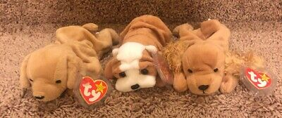 Ty Beanie Babies Lot of Dogs Wrinkles Spunky Fetch New With Tags Bin B
