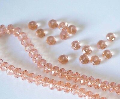 25 Crystal Rondelle Abacus Glass Beads  Peach Pink - 8mm x 6mm