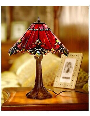 48cm Height Red Jewel Carousel Stained glass Tiffany Bedside Table Lamp