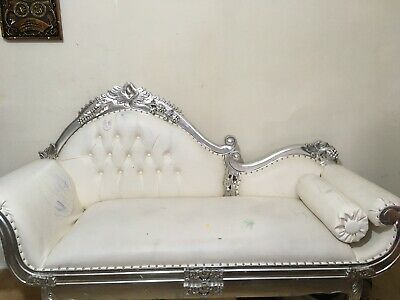 Large Antique Silver Pewter Chaise Longue  French Ornate Lounge Day Bed Sofa