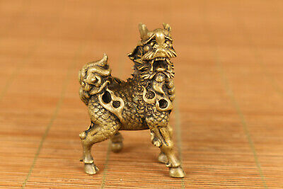 Rare chinese old bronze hand carved Kirin statue netsuke collectable ornament