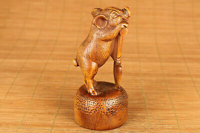 unique chinese old boxwood hand carved lovely pig figure netsuke statue