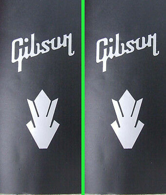 2 x silver vinyl gibson style words & crowns guitar headstock sticker