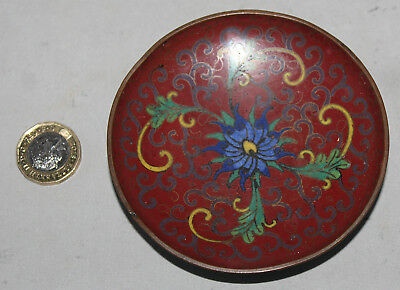 Antique Chinese Hand Painted Red Enamel Floral Cloisonne Pin Dish Good Condition