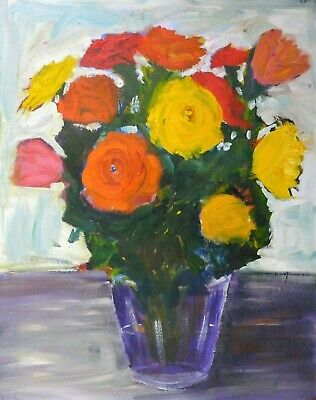 Original Oil Painting 40cm x 50cm on canvas board signed JPS 'Orange,yellow red