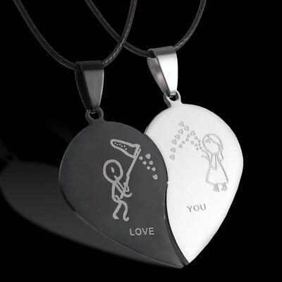 Fashion Punk Unisex Stainless Steel Heart Pendant Necklace Couples Jewelry Gift