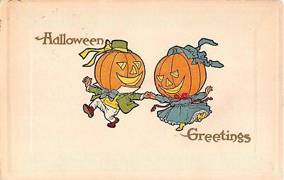 1913? Jack O Lantern Headed Dancing Couple Halloween post card