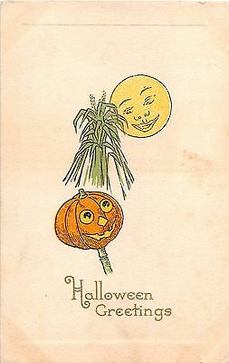 c.1910 Jack O'Lantern Corn Stalk Full Moon Halloween Greeetings post card