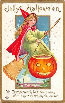 1911 Witch on Broom w/ Jack O'Lantern Halloween post card