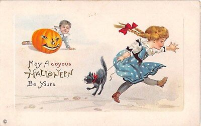 1913 Boy with Jack O Lantern Girl with Black Cat Halloween post card