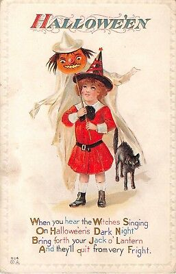 1913? Girl Witch with Jack O Lantern on Stick & Black Cat Halloween post card