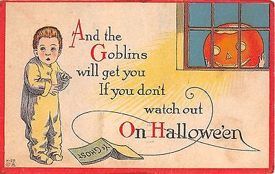 1916 Jack O' Lantern in Window Watching Boy Halloween post card
