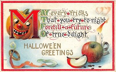 1911 Jack O Lantern & Apple Halloween Greetings post card
