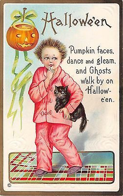 1911 Boy with Jack O'Lantern & Black Cat Halloween post card