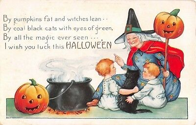 1922 Witch with Jack O Lantern Black Cat Children Halloween post card Whitney