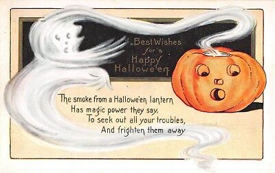 c.1920 Ghost with Jack O Lantern Halloween post card Whitney